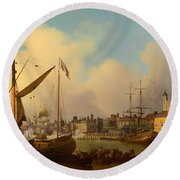 The Thames And Tower Of London On The King's Birthday Round Beach Towel