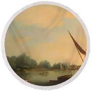 The Thames At Chelsea Round Beach Towel