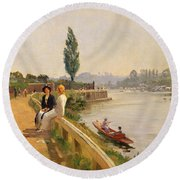 The Thames At Hampton Court Round Beach Towel