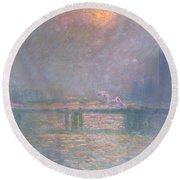 The Thames With Charing Cross Bridge Round Beach Towel