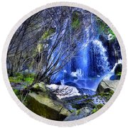 The Thawing Falls Round Beach Towel