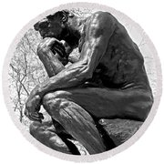 The Thinker In Black And White Round Beach Towel