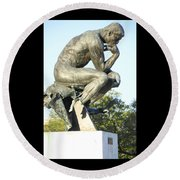 The Thinker Cleveland Art Statue Round Beach Towel