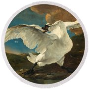 The Threatened Swan Round Beach Towel