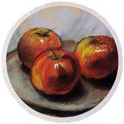 The Three Apples Round Beach Towel