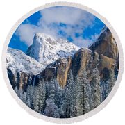 Cathederal Rocks And Bridalveil Round Beach Towel
