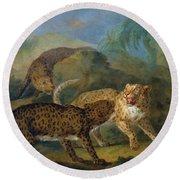 The Three Leopards Round Beach Towel