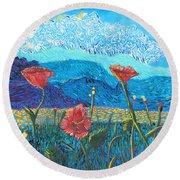 The Three Poppies Round Beach Towel