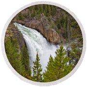 The Thundering Lower Yellowstone Falls Round Beach Towel