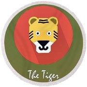 The Tiger Cute Portrait Round Beach Towel