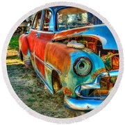 The Tired Chevy 2 Round Beach Towel