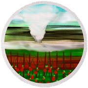 The Tomatoes And The Tornado Round Beach Towel
