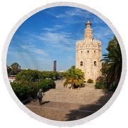 The Torre Del Oro, Gold Tower, Military Round Beach Towel