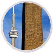 The Tower And The Stack Round Beach Towel