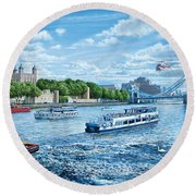 The Tower Of London Round Beach Towel