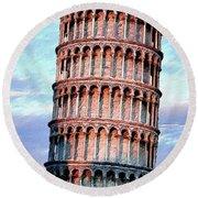 The Tower Of Pisa Round Beach Towel