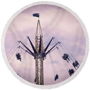 The Tower Swing Ride 1 Round Beach Towel