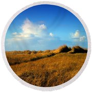 The Trail Through The Grass Round Beach Towel