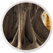 The Tree And The Post Box Round Beach Towel