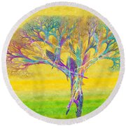 The Tree In Spring At Midday - Painterly - Abstract - Fractal Art Round Beach Towel