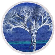 The Tree In Winter At Dusk - Painterly - Abstract - Fractal Art Round Beach Towel