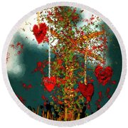 The Tree Of Hearts Round Beach Towel