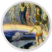 The Trek Of The Gods To Valhalla Round Beach Towel