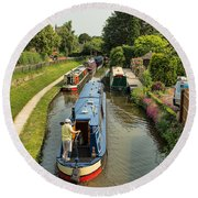 The Trent And Mersey Canal At Alrewas Round Beach Towel