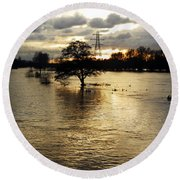 The Trent Washlands In Full Flood Round Beach Towel