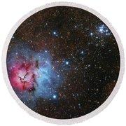 The Trifid Nebula And Messier 21 Round Beach Towel