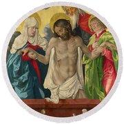 The Trinity And Mystic Pieta Round Beach Towel