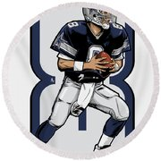 The Triplets Leader Qb 8 Round Beach Towel