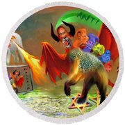 The Two Beasts Of Revelations Round Beach Towel