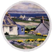 The Two Crofts Round Beach Towel by Francis Campbell Boileau Cadell