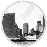 The Un And Chrysler Buildings Round Beach Towel