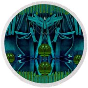 The Under Water Temple Round Beach Towel