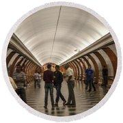 The Underground 1 - Victory Park Metro - Moscow Round Beach Towel