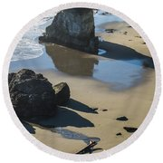 The Unexplored Beach Round Beach Towel