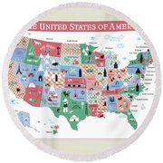 The United States Of America Map Round Beach Towel