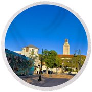 The University Of Texas Tower Round Beach Towel