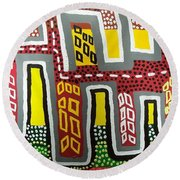 The Up Side Down City Round Beach Towel