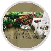 The Upper Deck With Stain Glass Table Round Beach Towel