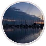 The Urge To Sail Away - Violet Sky Reflecting In Lake Ontario In Toronto Canada Round Beach Towel