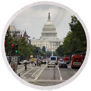 The Us Capitol Building From Pennsylvania Avenue Round Beach Towel