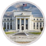The Us Federal Reserve Board Building Round Beach Towel by Susan Candelario