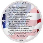 The U.s.a. Flag Poetry Art Poster Round Beach Towel by Stanley Mathis