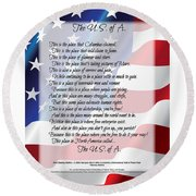 The U.s.a. Flag Poetry Art Poster Round Beach Towel