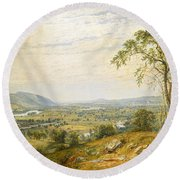 The Valley Of Wyoming Round Beach Towel