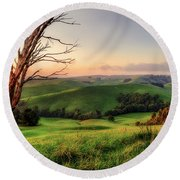 The Valley Round Beach Towel by Ray Warren