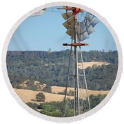 The Valley Windmill Round Beach Towel